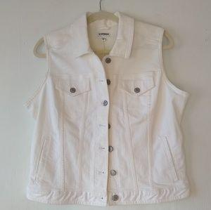 Express • white denim vest jacket